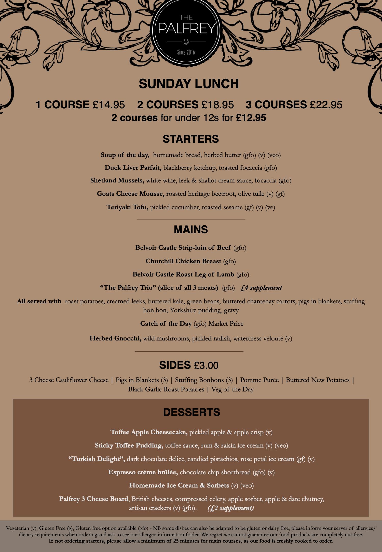 Palfrey sunday menu October November 2020