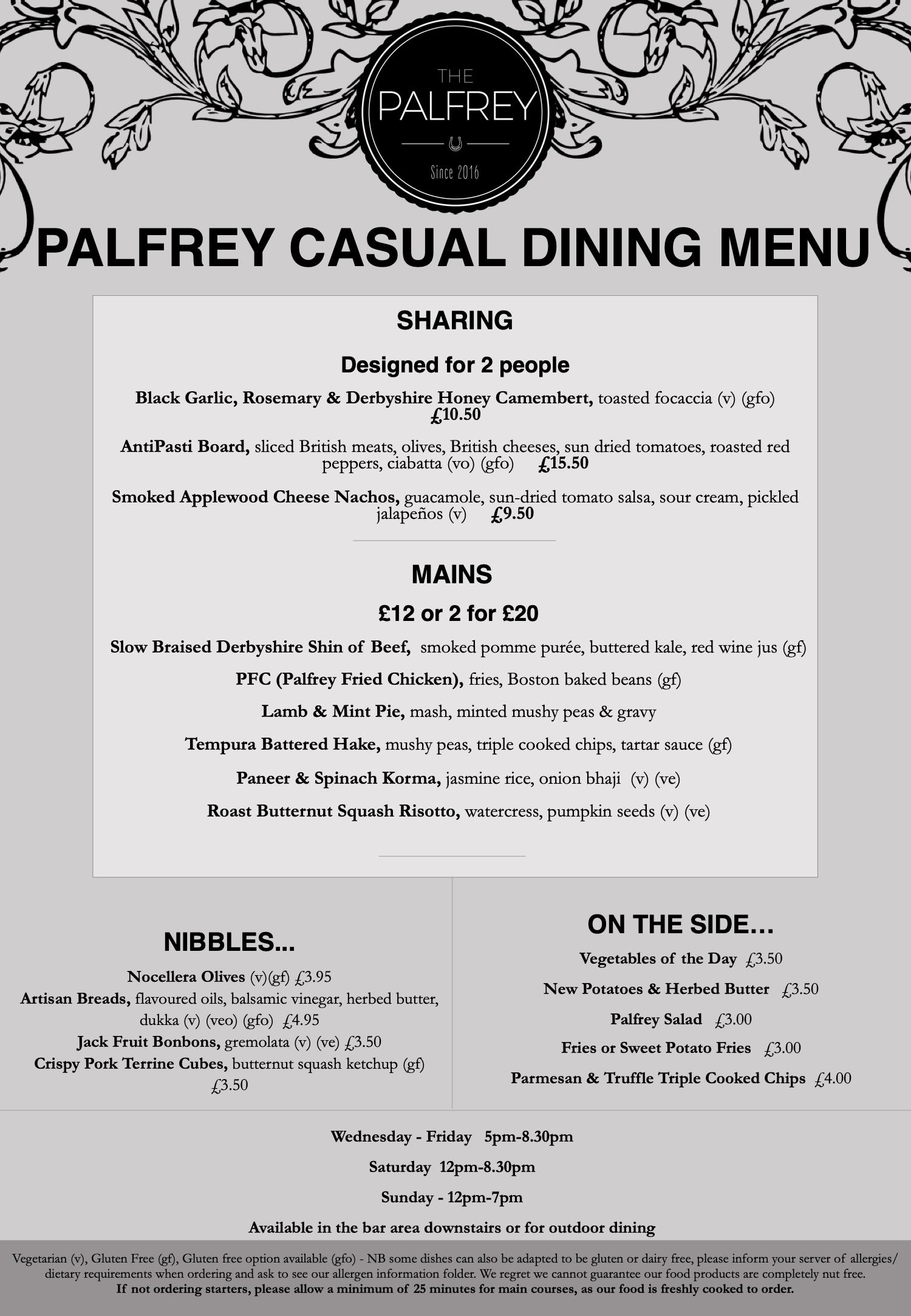 Palfrey Casual Dining Menu - October November 2020
