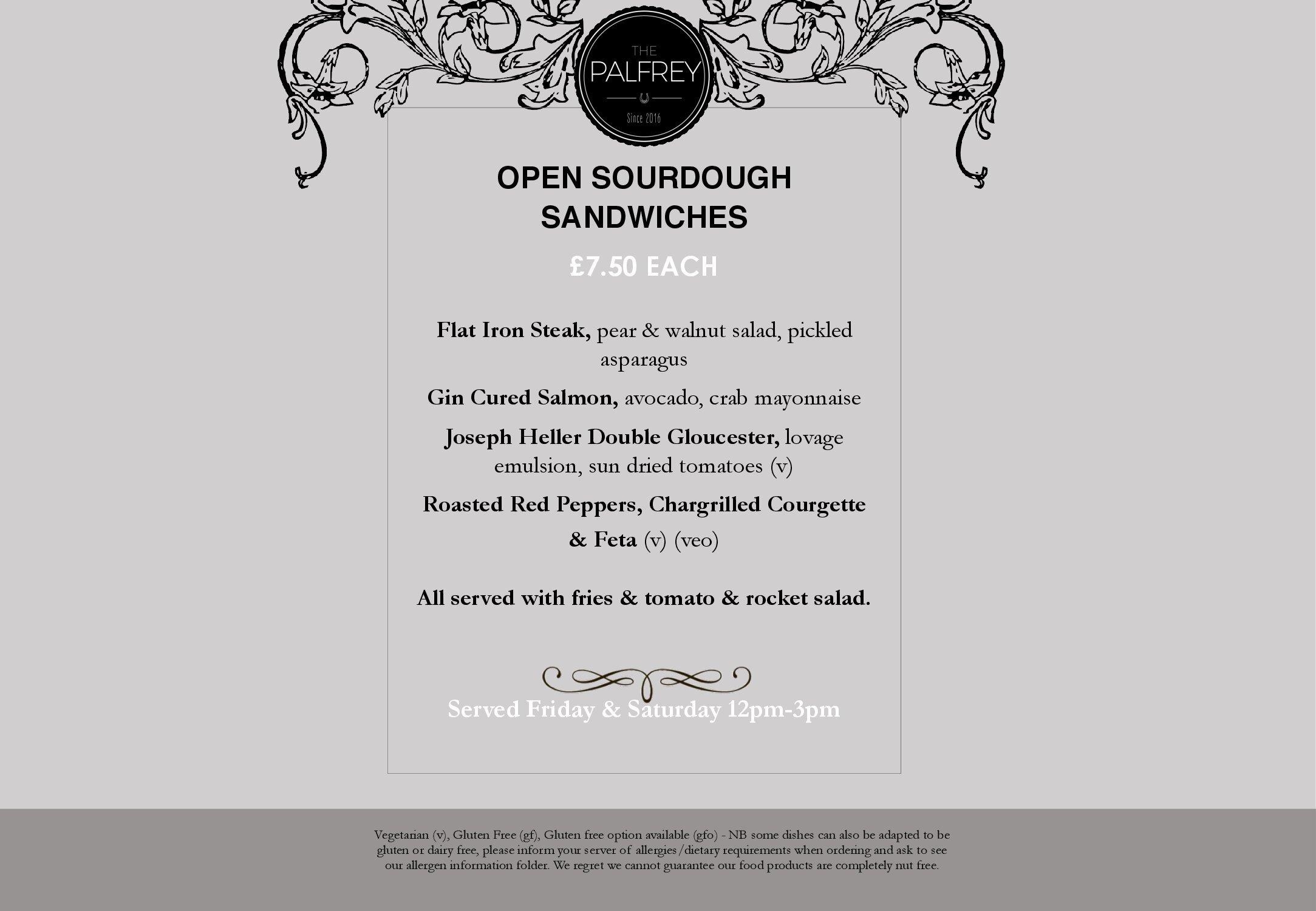 Sourdough Sandwhiches menu