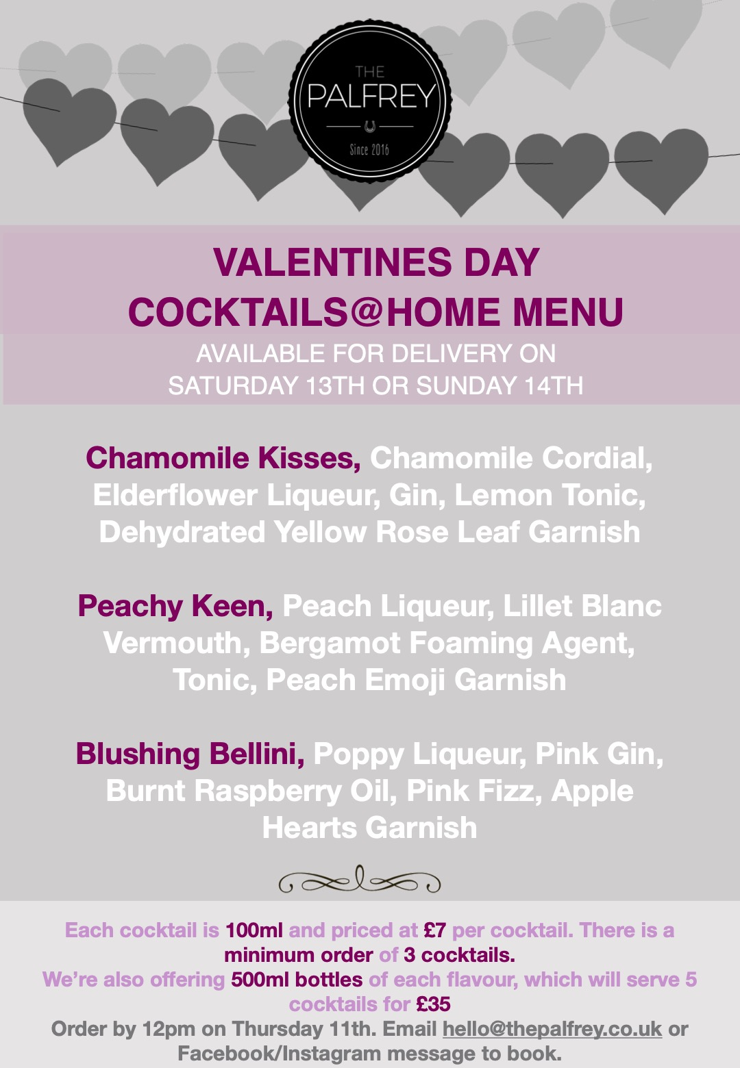 Palfrey Menu Cocktails @ Home - Valentines 2